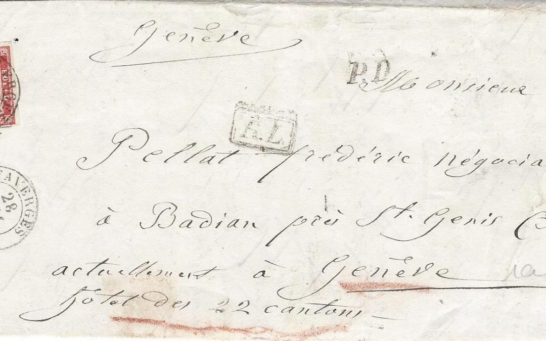 1859: Nouvelle définition du rayon limitrophe entre les Etats Sardes et la Suisse.