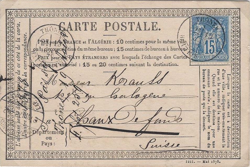 Type Sage – le 15c bleu sur carte postale pour l'Europe.