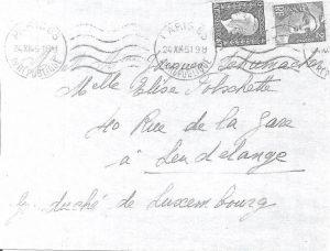 Pour confirmation, copie en noir et blanc d'une lettre du 24-11-45, toujours à destination du Grand-Duché, affranchie au tarif relation à 2 F 40, oblitération mécanique Krag.