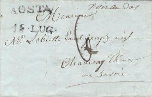 Recto de la lettre simple d'Aosta pour Thônes