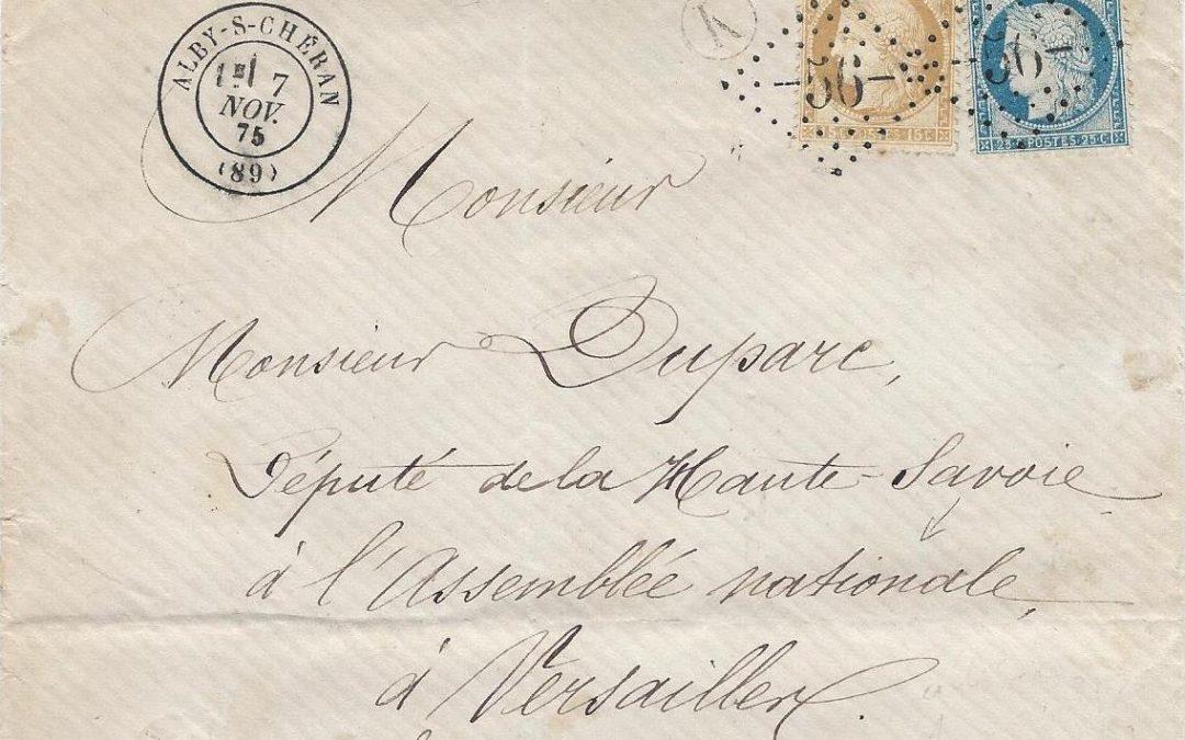 Les Marques Postales et Timbres à Date d'Alby-sur-Chéran au 19° Siècle