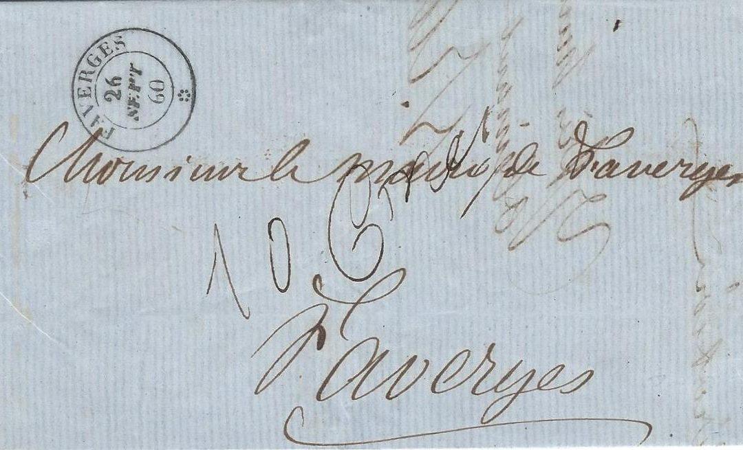 1860 : Sur la période de Transition de la Poste de Juin à Décembre