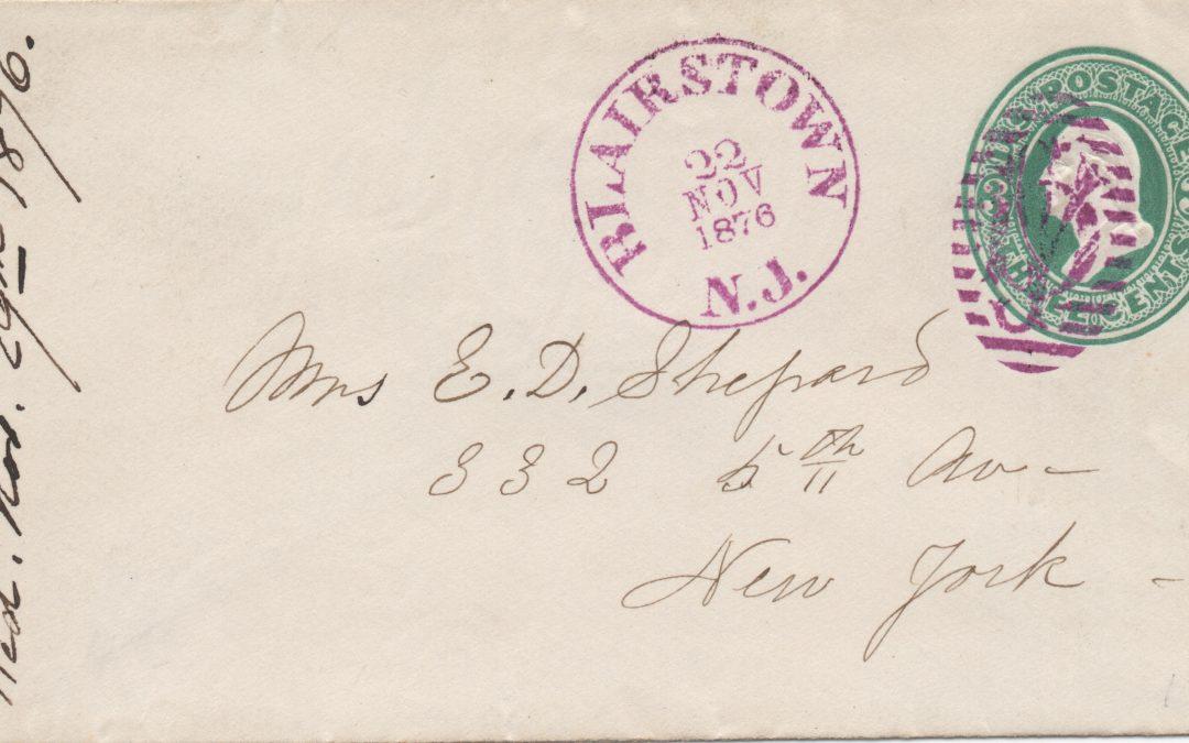 ETATS UNIS : Au chiffre du  Postmaster de Blairstown !