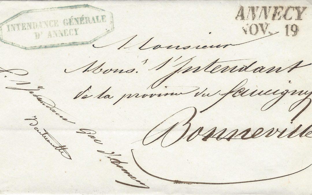 1819 – 1860 : La Franchise Postale à Annecy (II)