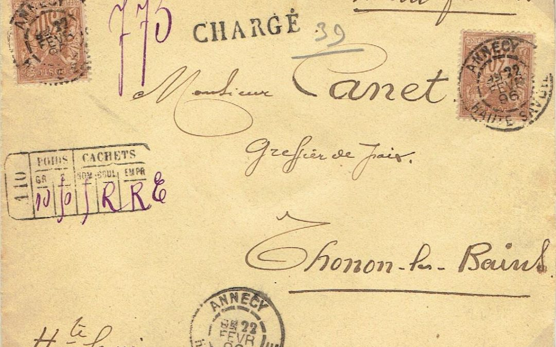 1896 – une lettre CHARGE d'Annecy pour Thonon-les-Bains