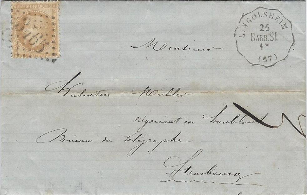1869 – Une lettre locale acheminée par le convoyeur Barr à Strasbourg