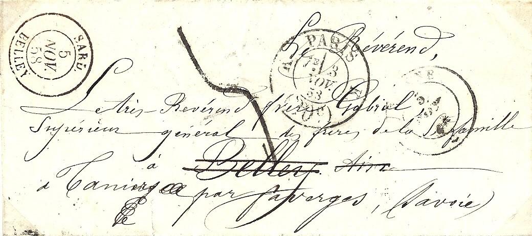 1858 – une lettre de Paris pour Belley réexpédiée pour l'abbaye de Tamié