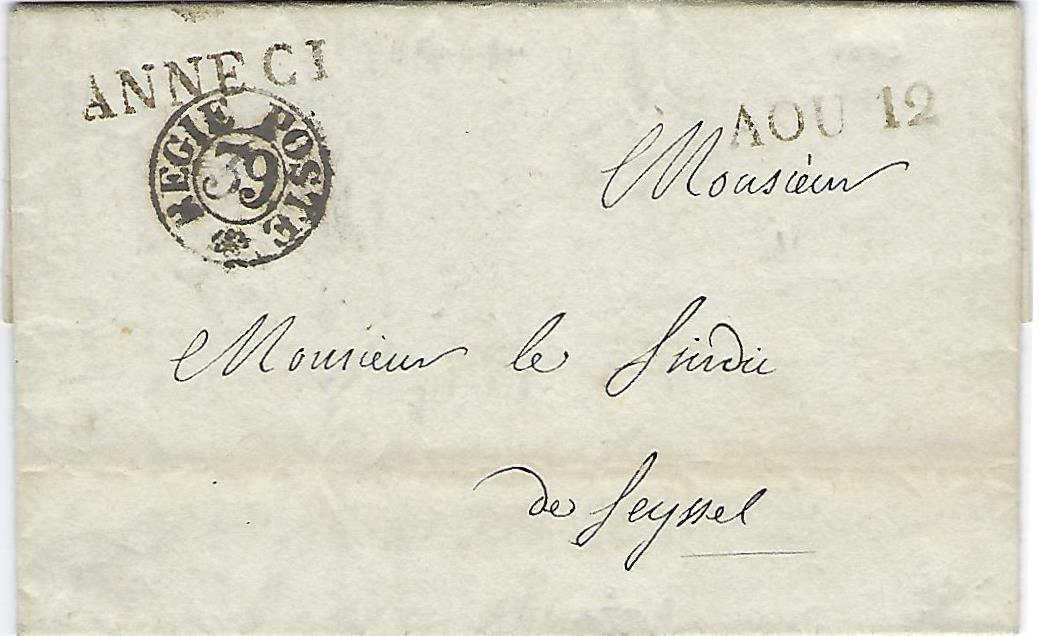 1819 – 1860 : La Franchise Postale à Annecy (III)
