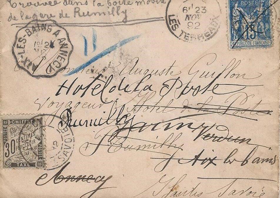 1892 – Une Fausse Réexpédition traitée par le convoyeur Aix-les-Bains à Annecy
