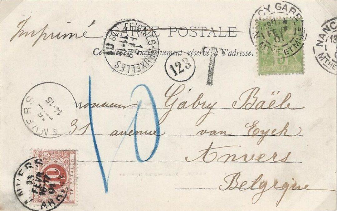 Novembre 1899 – Tarif pour les Cartes Illustrées