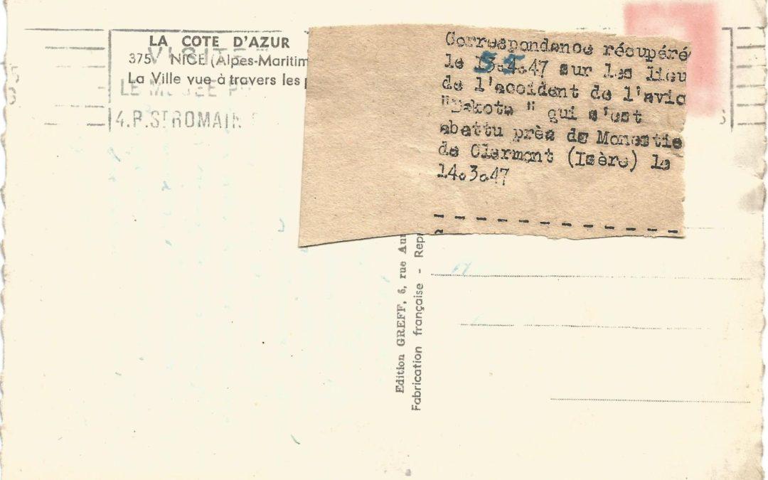 1947 – Crash d'avion à Monestier de Clermont