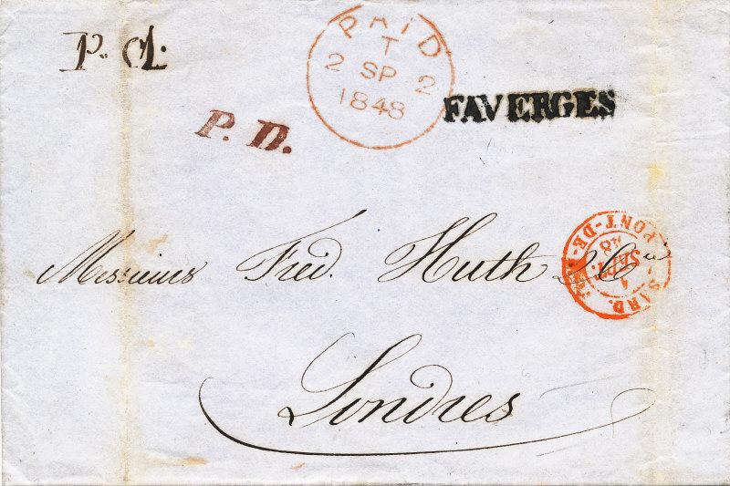 1848: une lettre en port payé de Faverges pour Londres