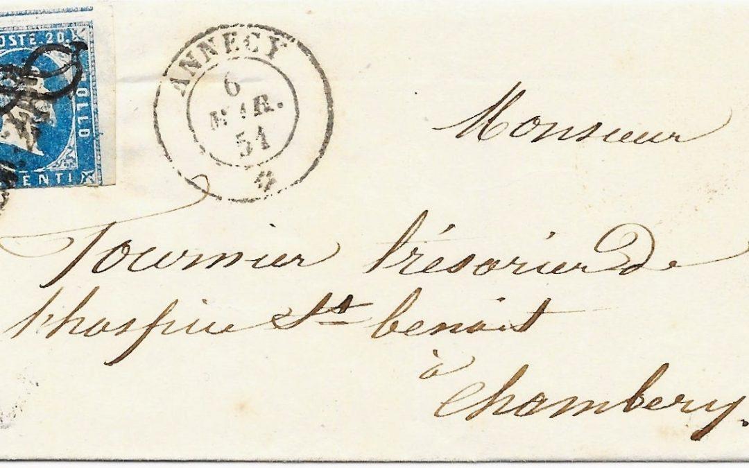 1851 :  Oblitération par « Nœud d'amour » ou « Nœud de Savoie »