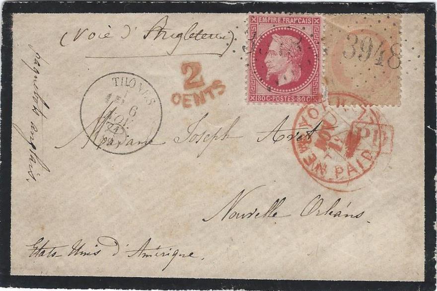1871 : Une lettre de Thônes pour la Nouvelle Orléans par New York