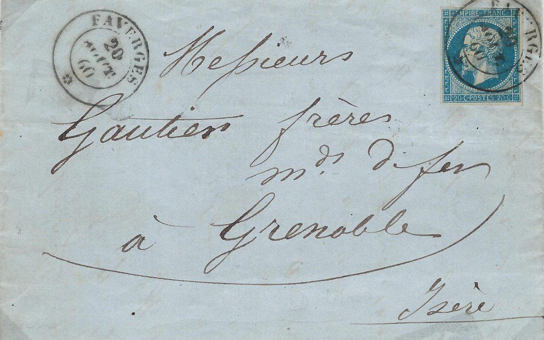 Les Marques Postales et Timbres à Date de Faverges au 19° Siècle