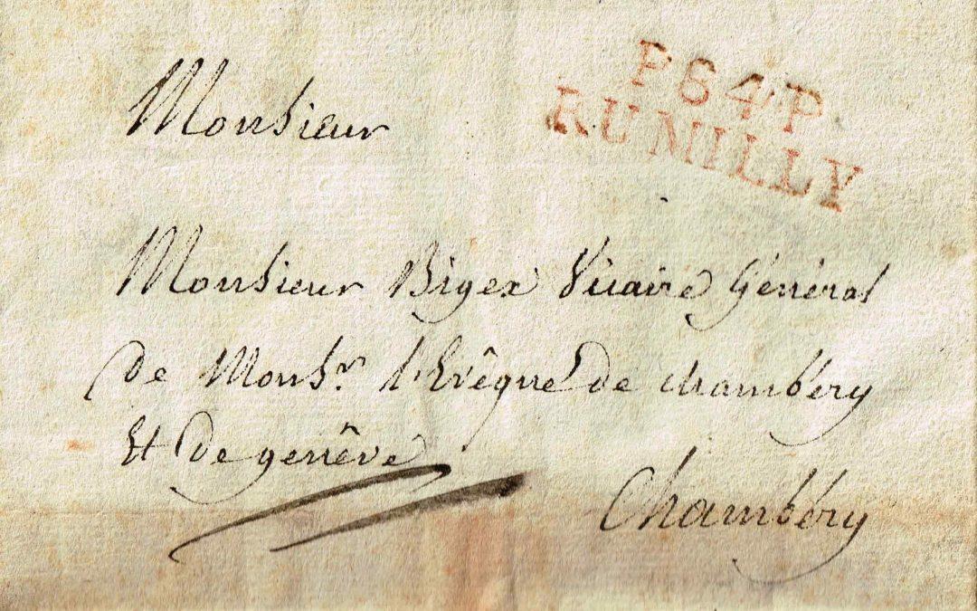 Les Marques Postales et Timbres à Date de Rumilly au 18° et 19° Siècle
