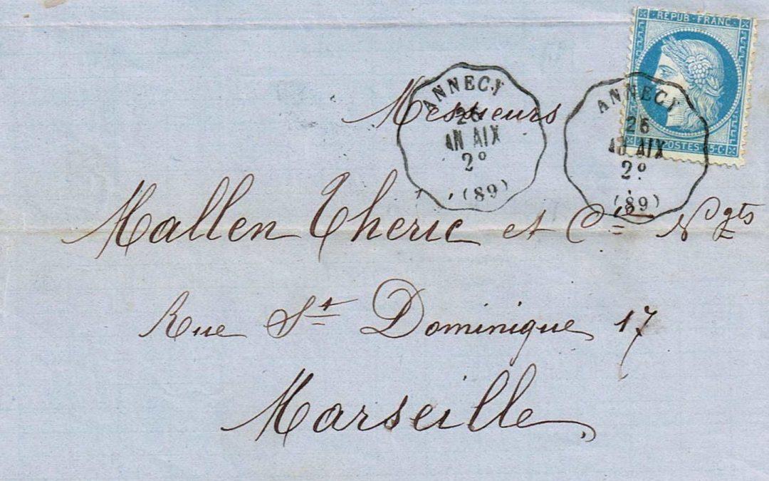 1867 – 1877 : Les Courriers-Convoyeurs-Stations de la Ligne Chambéry à Annecy