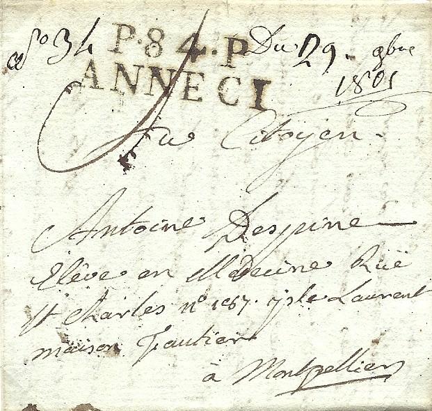 La correspondance Despine, 1805 : lettre d'Annecy port payé