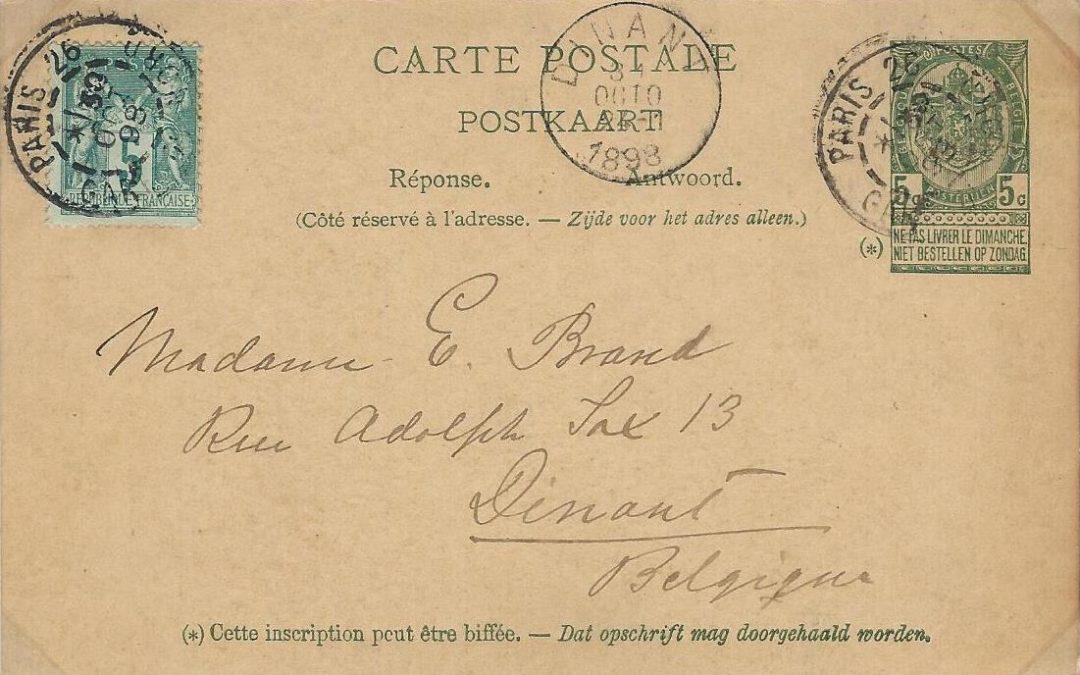 Type Sage – le 5c vert sur une carte postale réponse payée Belge