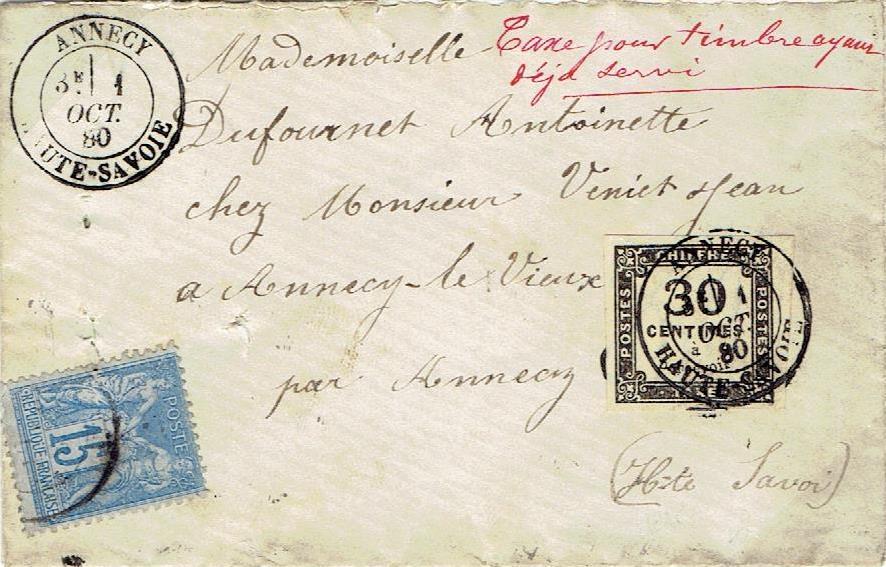 Taxe pour timbre ayant déjà servi (I)