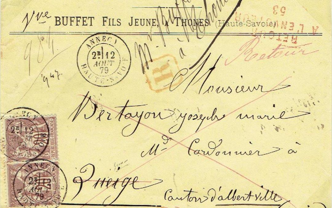 La Griffe «RETOUR / A L'ENVOYEUR » avec Numéro du Bureau (I)