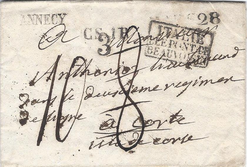 1830 – Une lettre de la Savoie pour la Corse