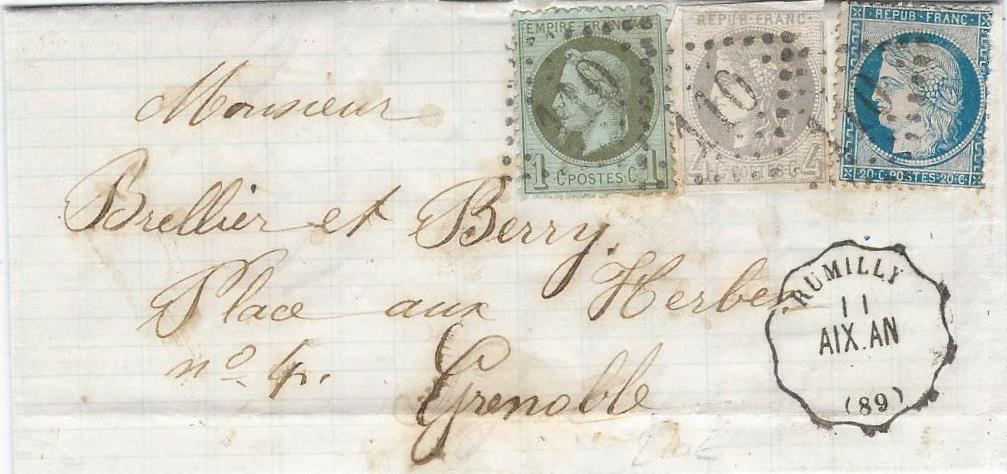 Septembre 1871 – un Convoyeur Station avec un affranchissement tricolore
