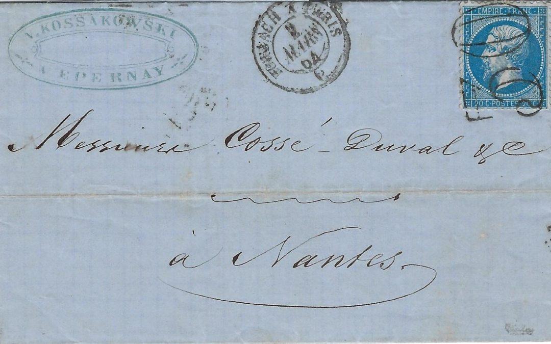 1864 – une oblitération par un timbre-taxe «double trait»